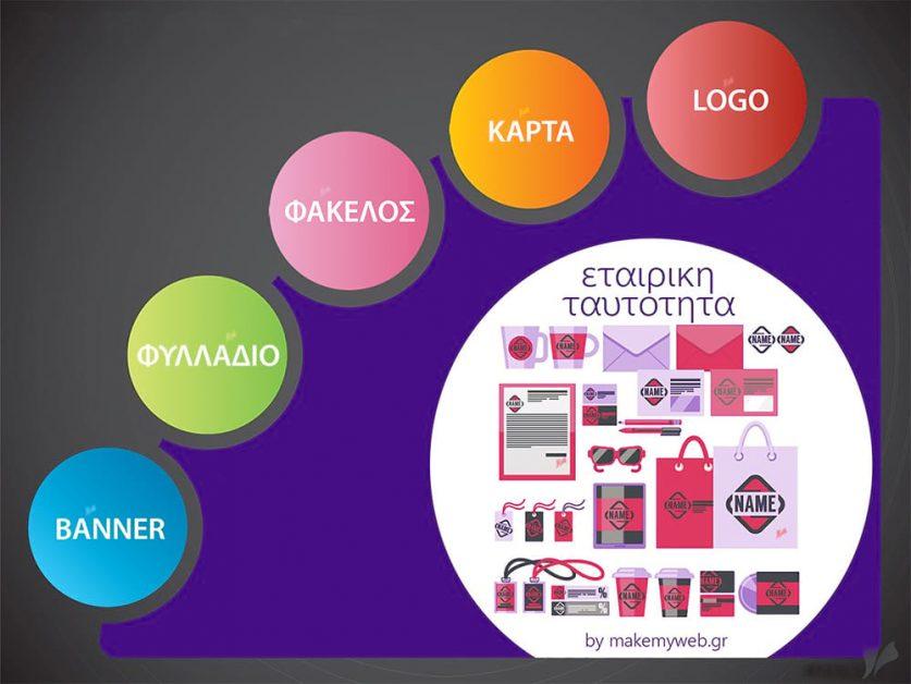 Σχεδίαση εταιρικής ταυτότητας, κατασκευή εταιρικής ταυτότητας, λογότυπα, διαφημιστικά banners, επαγγελματικές κάρτες, φάκελοι αλληλογραφίας